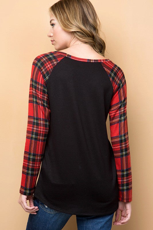 Holiday Plaid Long Sleeve Top