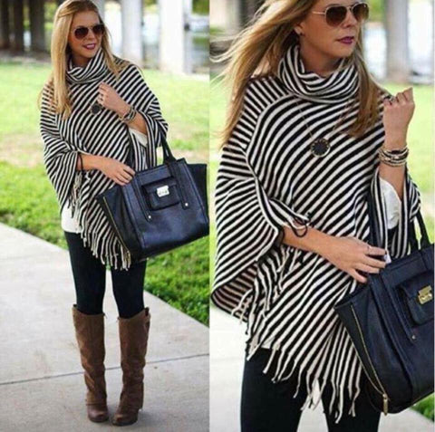 Tina Black & White Striped Knit Poncho