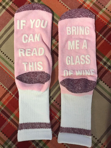 Bring Me A Glass of Wine Socks - Pink