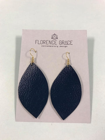 Textured Leather Earrings - Navy