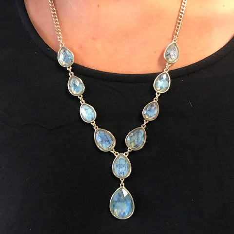 Teal Marble Teardrop Necklace