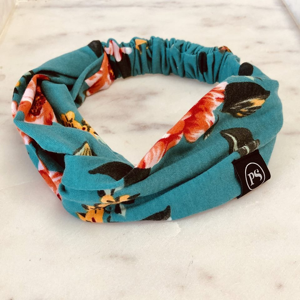 Knotted Headband - Teal Floral