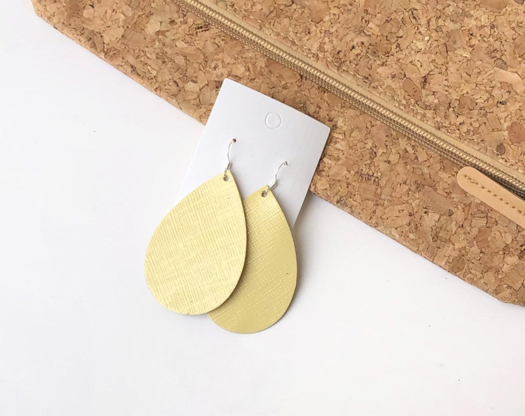 Lemonade Yellow Leather Teardrop Earrings  (Copy)