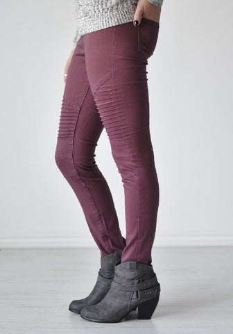 MARGOT MOTO JEGGINGS - PLUM