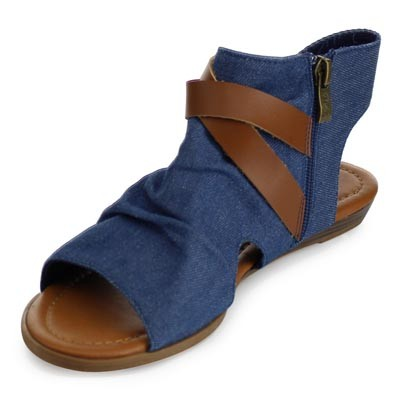 Naomi Ankle Wrap Sandal - Denim