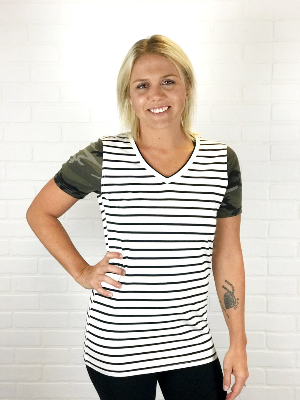 Ampersand Ave - Accent Sleeve Tee- Camo and Black Stripe