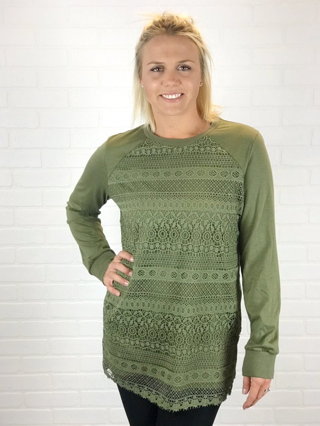 Ampersand Ave Lace Pullover - Olive