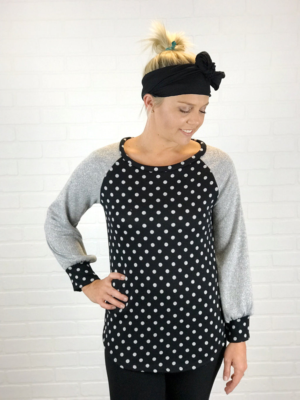 Solid Polka Dot Long Sleeves Raglan Top
