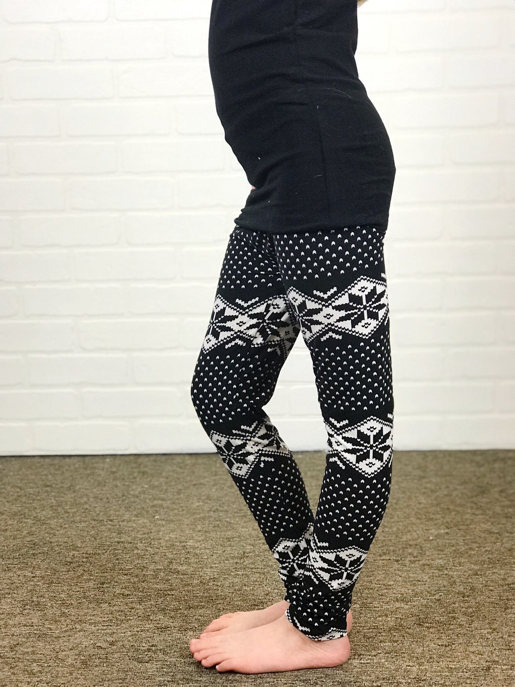 Kids Black Snowflakes Leggings