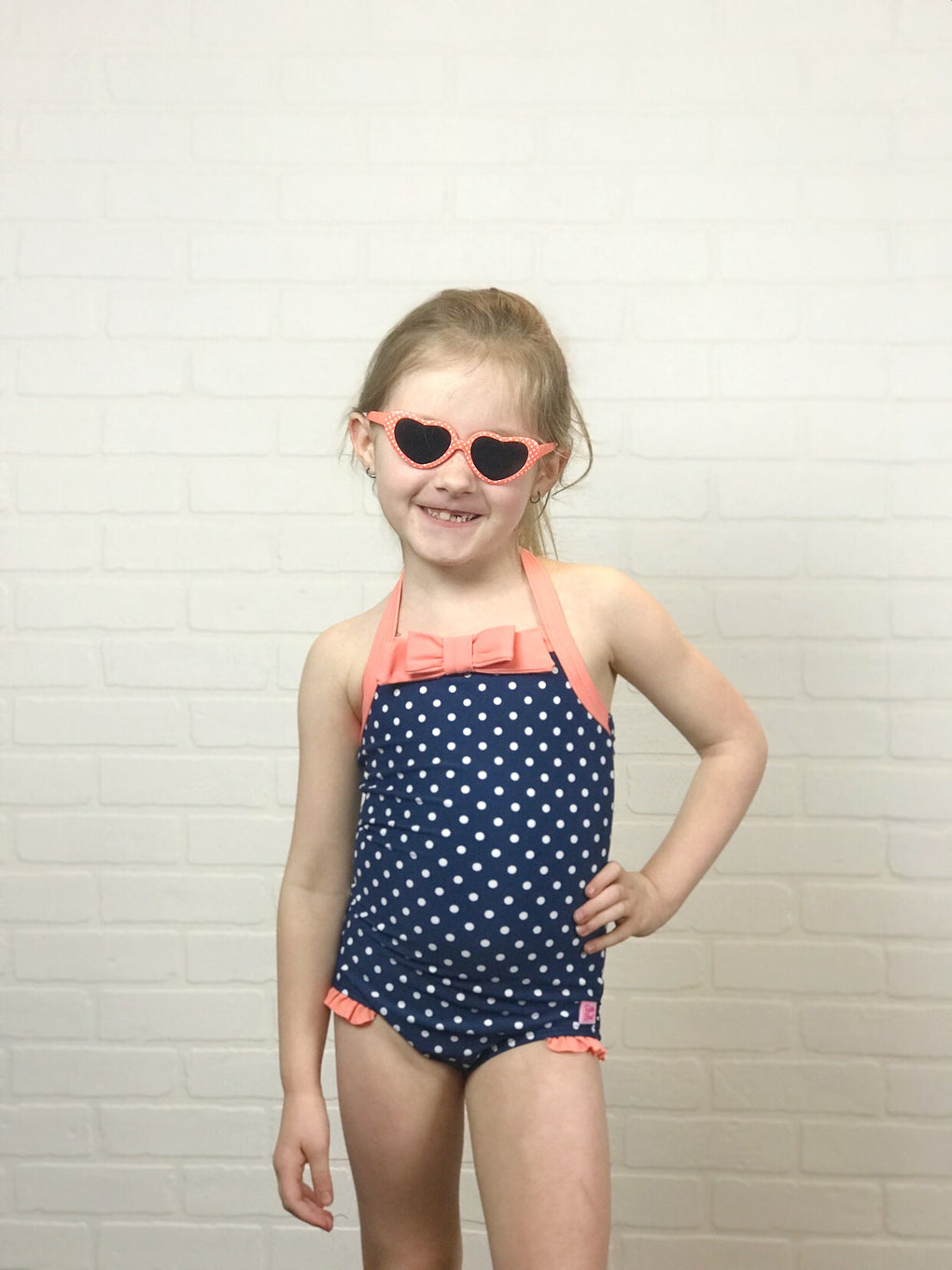 RuffleButts Navy Polka Halter One Piece