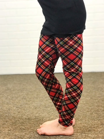 Kids Holiday Plaid Leggings