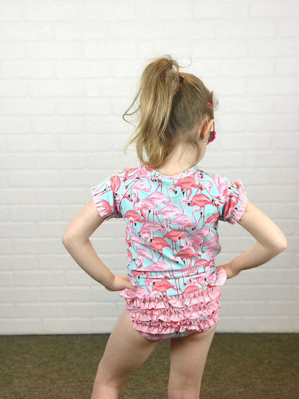 RuffleButts Fab Flamingo Rash Guard Bikini