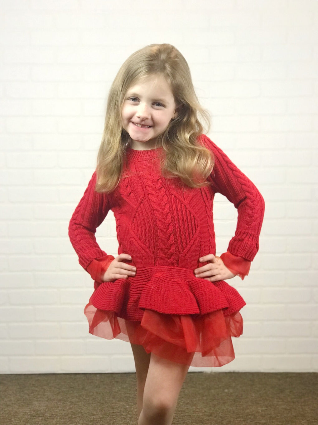 Girls Red Sweater Party Dress