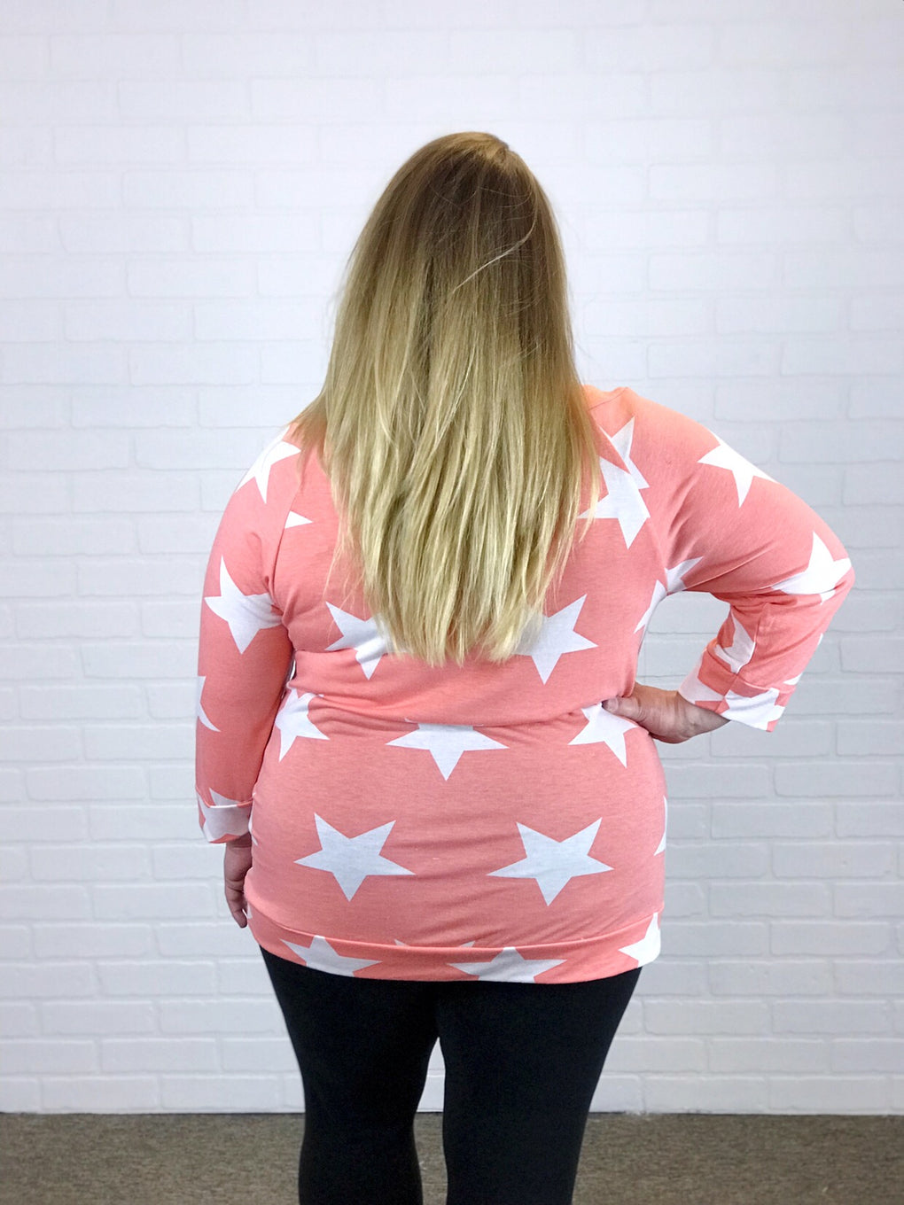 Coral Stars 3/4 Sleeve Top