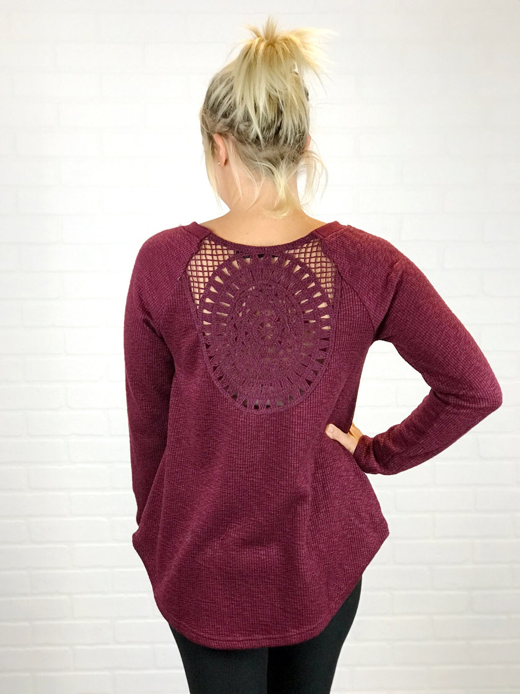 Leigh Crochet Back Sweater