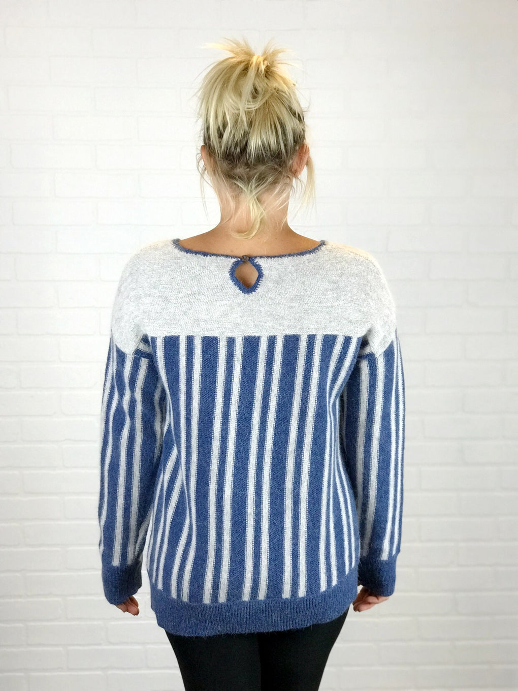 RONI BLUE AND GREY STRIPED SWEATER