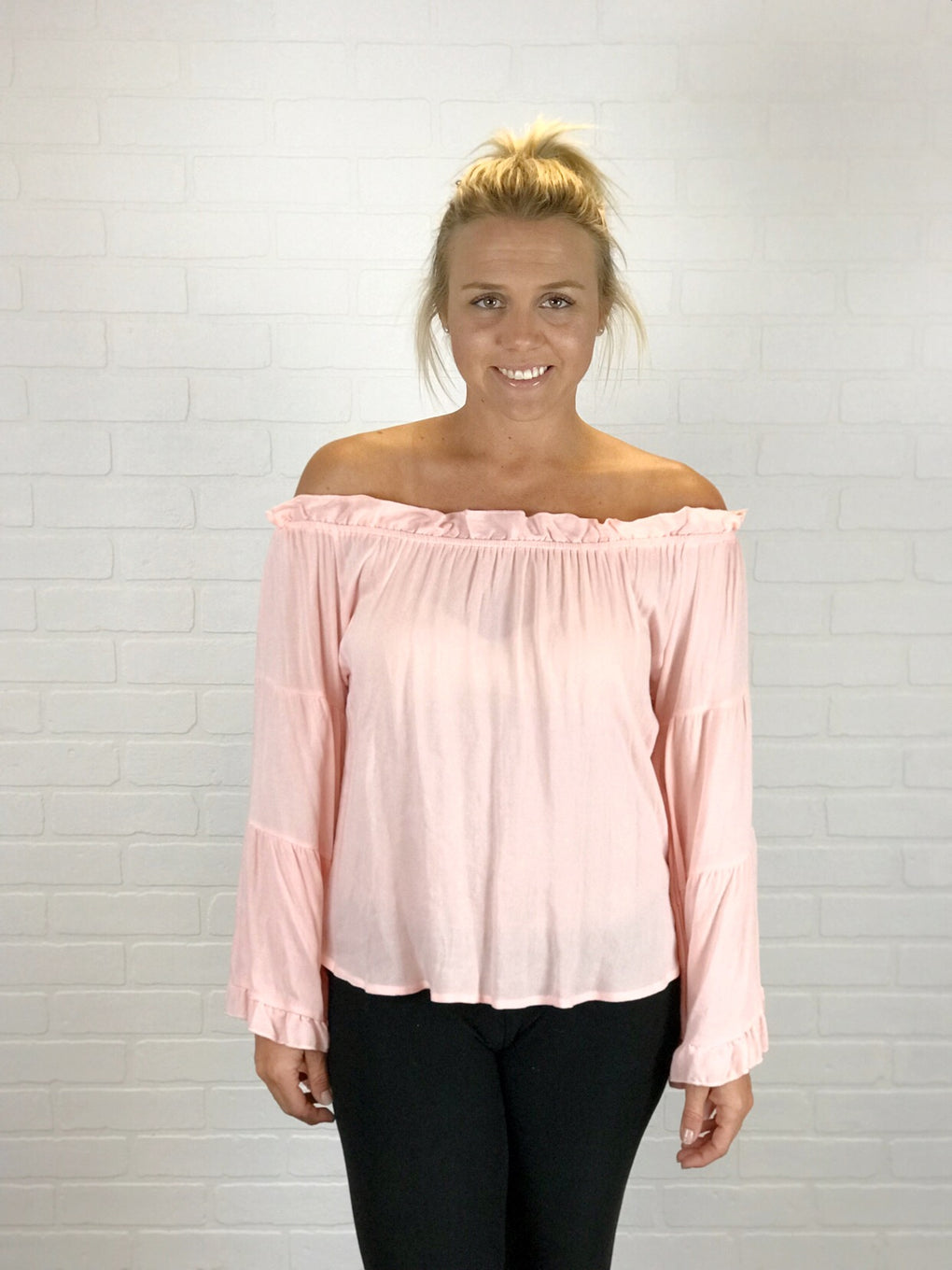 OFF SHOULDER RUFFLE SLEEVE TOP - PINK