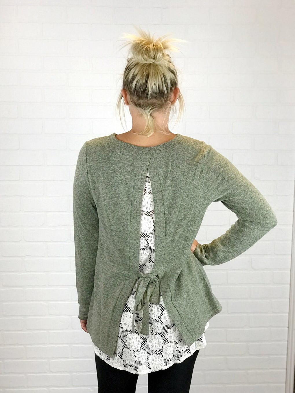 Veronica Lace Back Sweater - Sage