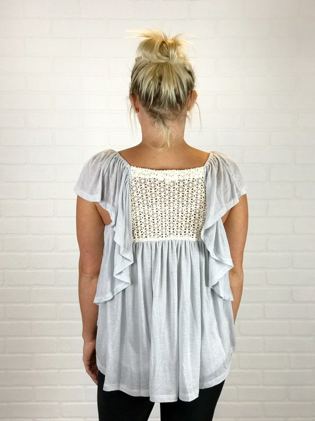 Diane Crochet Back Ruffle Top
