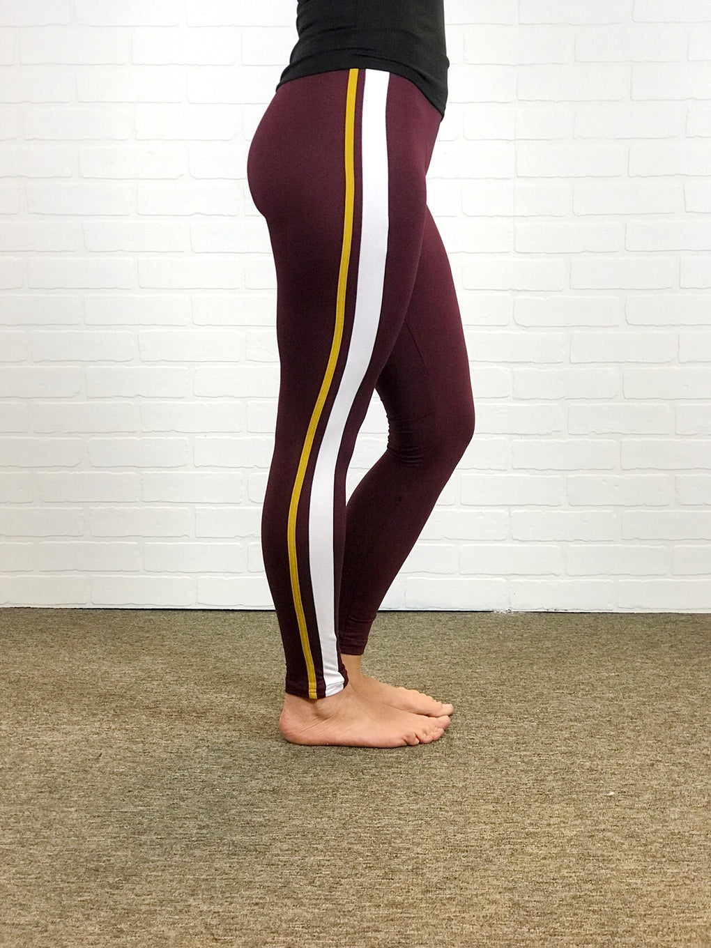 Leggings - Maroon with Gold & White Athletic Stripe