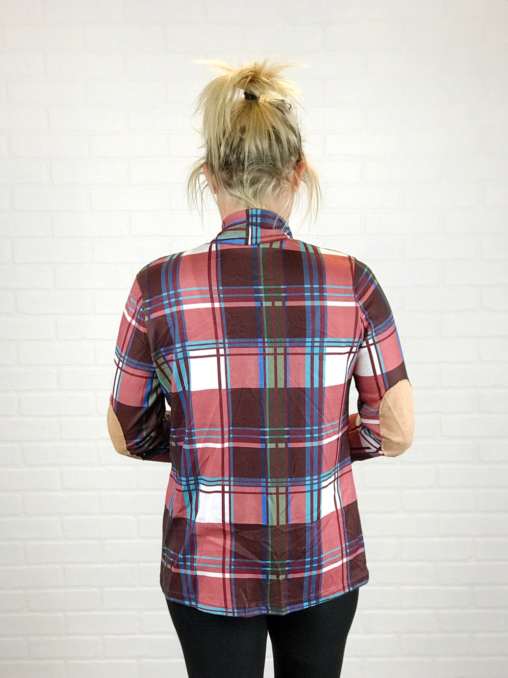 PLAID CARDIGAN W/ELBOW PATCHES - MAROON