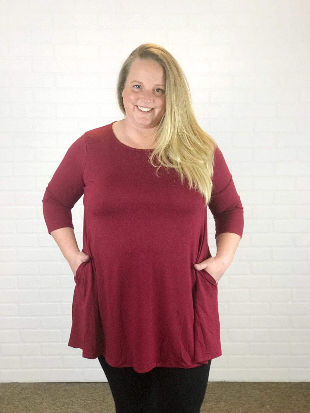 Back 2 Basic 3/4 Sleeve Swing Top w/ Pockets - Maroon