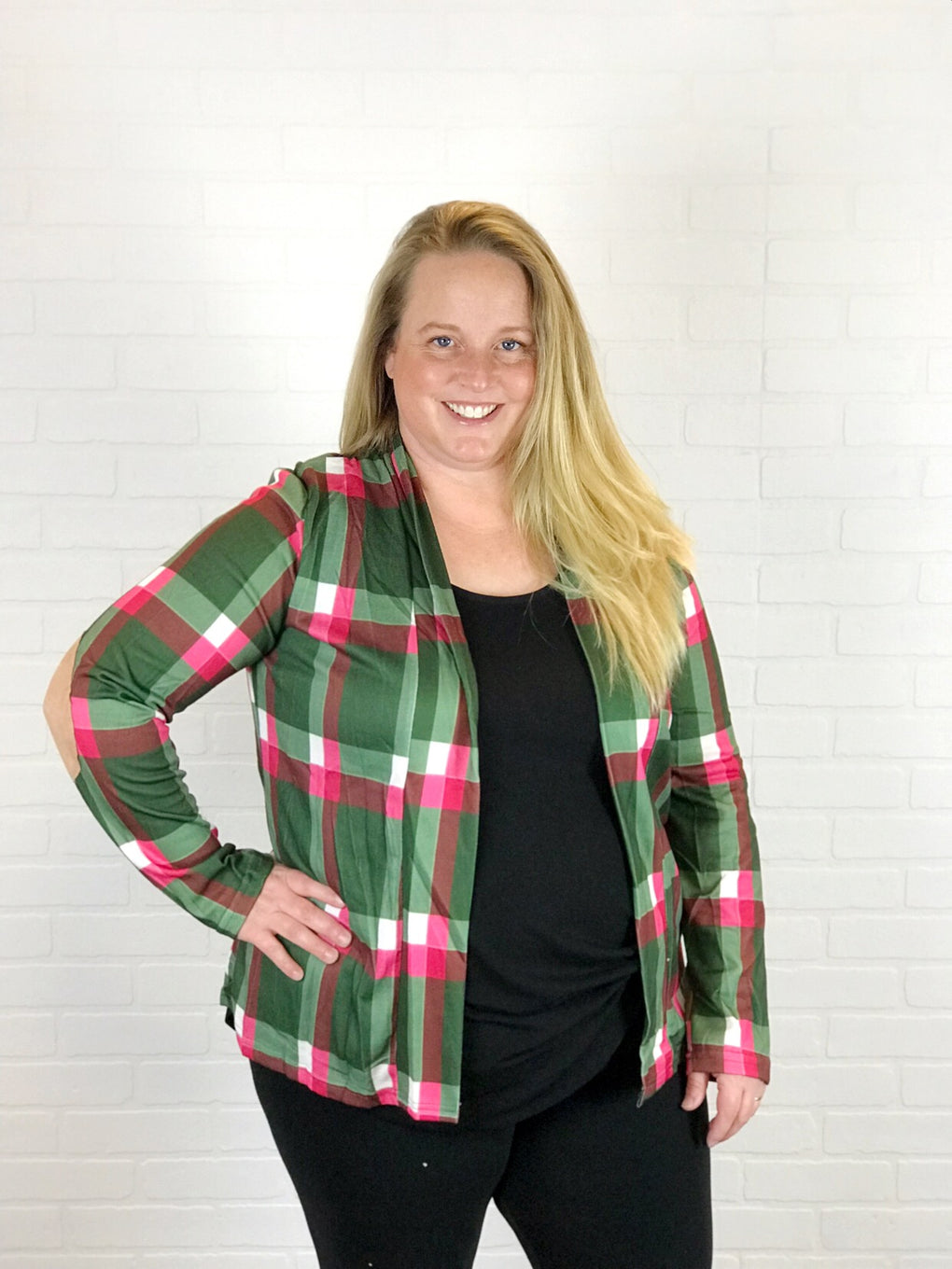 PLAID CARDIGAN W/ELBOW PATCHES - GREEN