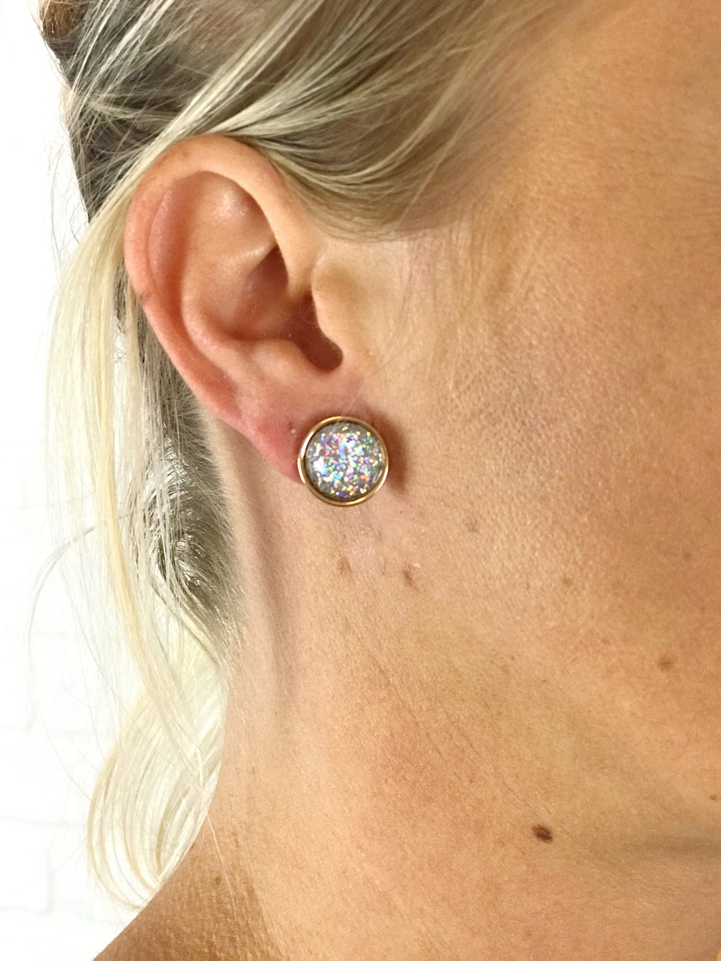 Empire Glitter Stud Earrings - assorted colors