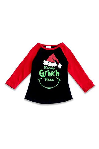 Kids' Resting Grinch Face Raglan Tee