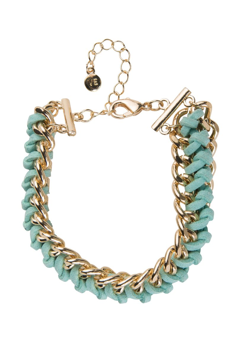 VICTORIA EMERSON TEAL SUEDE AND CHAIN BRACELET