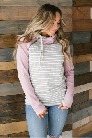 AMPERSAND AVE - DOUBLEHOOD™ SWEATSHIRT - STRIPED & LAVENDER SLEEVE