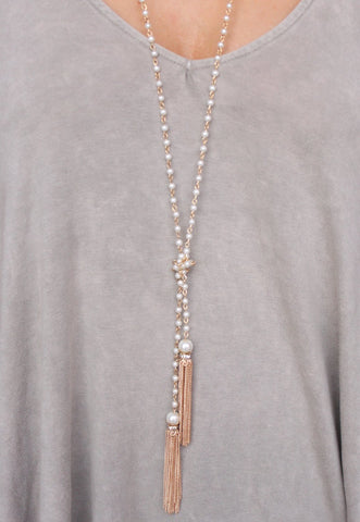 CAROLINE HILL - LAMBA LAYERED LARIAT PEARL AND TASSEL NECKLACE-GOLD