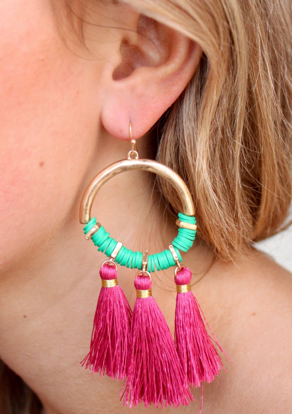 CAROLINE HILL - GALVIN METAL RING AND COLORED BEAD DROP EARRING WITH FABRIC TASSELS-FUSCHIA