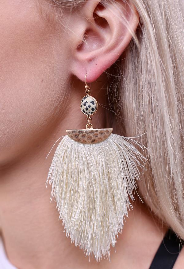 Lukas Stone and Tassel Fish Hook Earrings - assorted colors