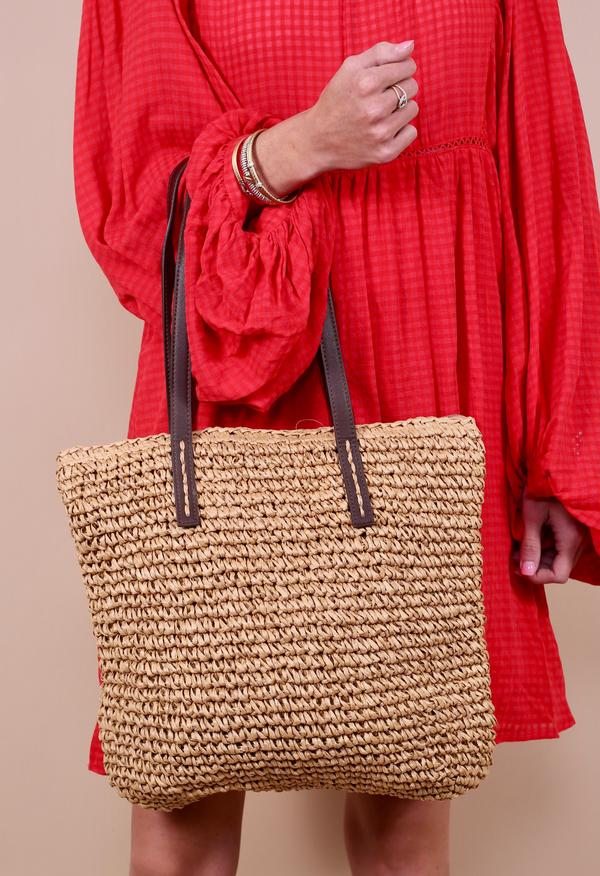 Bora Bora Straw Tote w/ Brown Handles - Tan