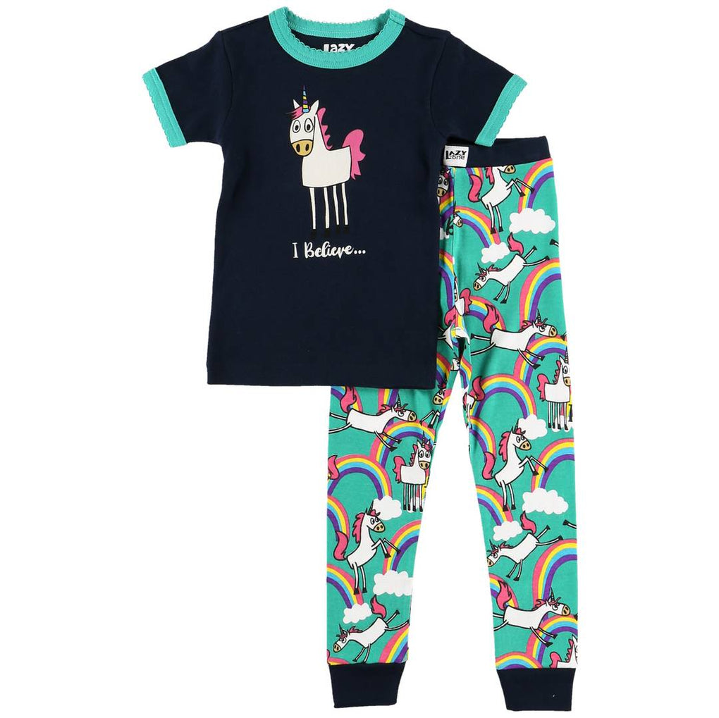 Lazy One - I Believe Unicorn Short Sleeve Kids PJ Set