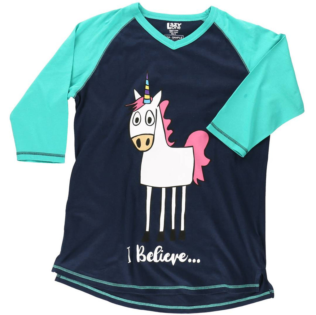 Lazy One - I Believe Unicorn Women's Tall PJ Tee