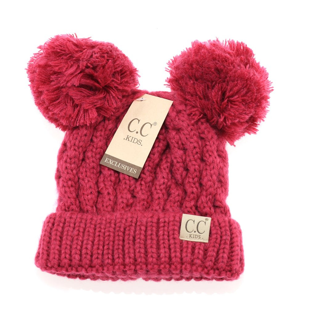 Kids Solid Double Pom CC Beanies
