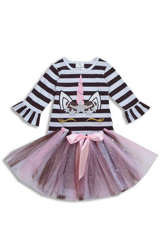 STRIPED FOOTBALL UNICORN TUTU SET