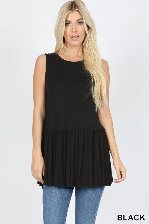 Back to Basics Peplum Tank - Black