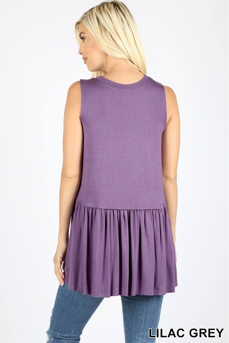 Back to Basics Peplum Tank - Lilac Grey