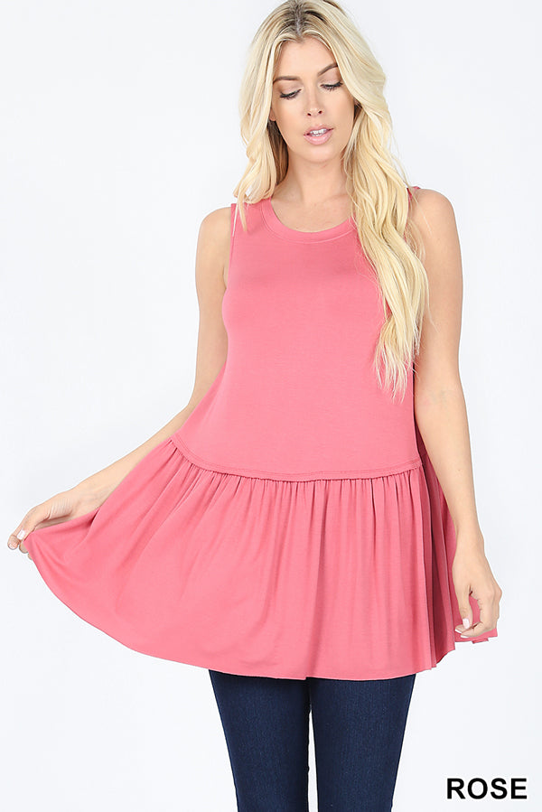 Back to Basics Peplum Tank - Rose