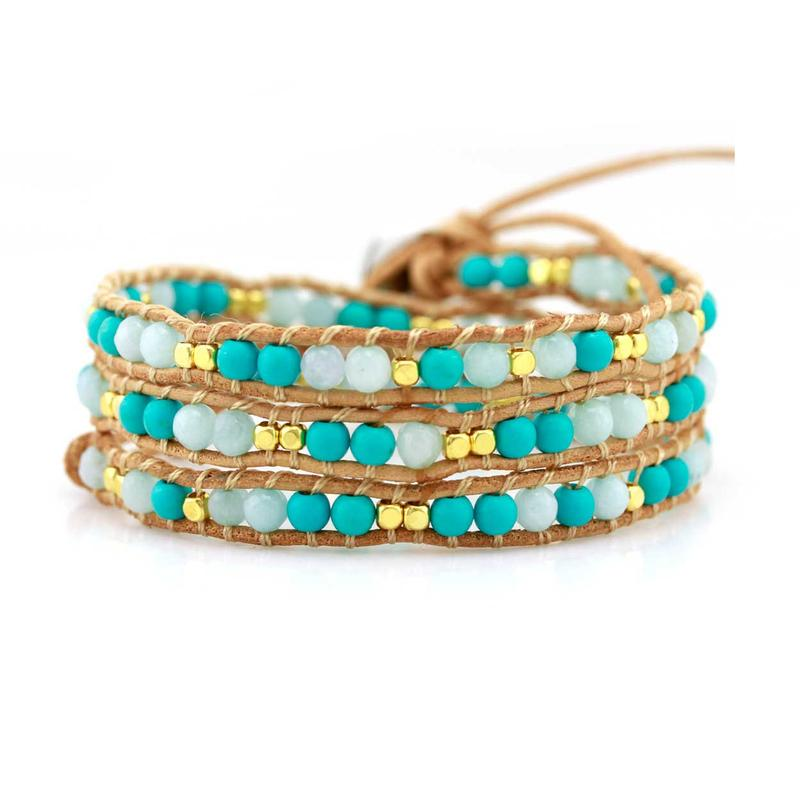 VICTORIA EMERSON - MIXED TURQUOISE AND SMALL GOLD BEADS ON NATURAL