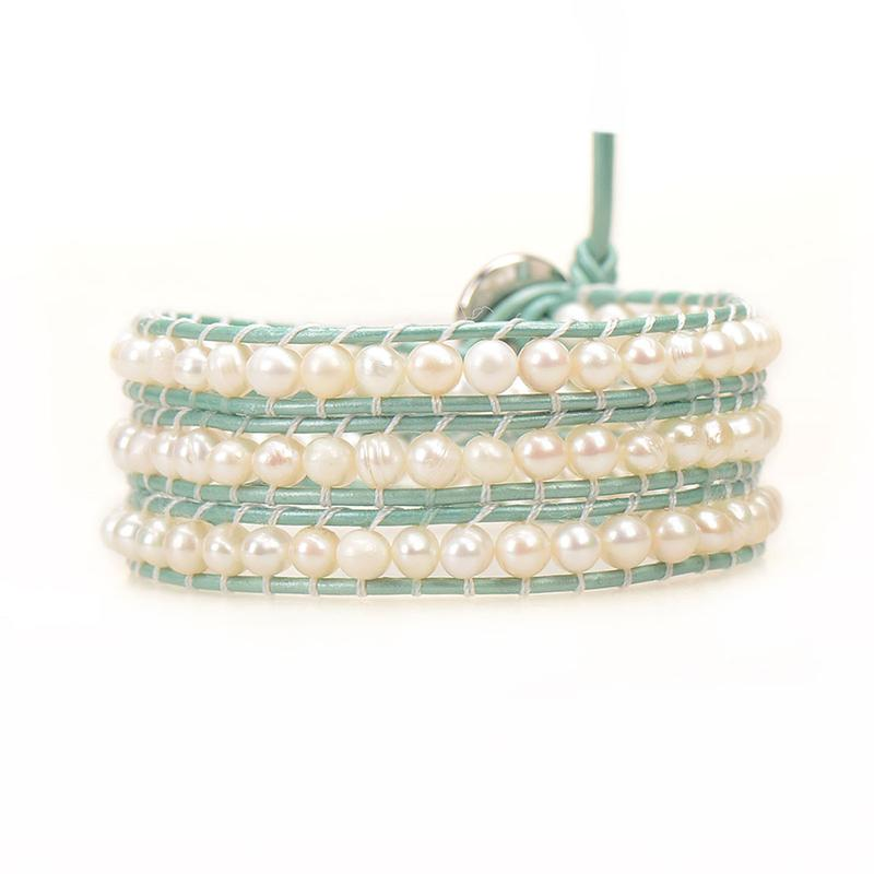 VICTORIA EMERSON - FRESHWATER PEARLS ON MINT GREEN