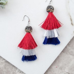 Perfectly Patriotic Tassel Earrings, Red, White, and Blue