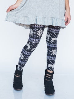 Kids Snowflakes Black Leggings - S/M