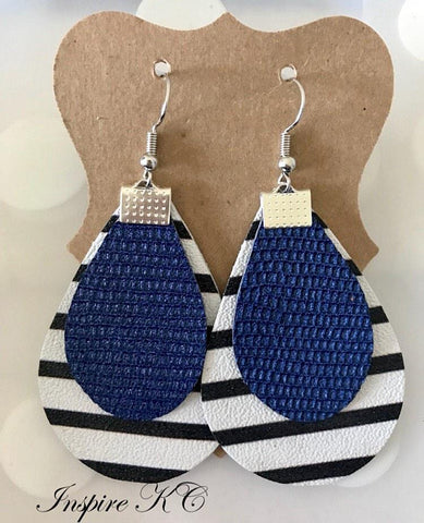 BLACK AND WHITE STRIPE WITH BLUE TEXTURED LAYERED LEATHER EARRINGS