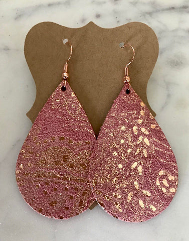 BEAUTIFUL PINK SUEDE WITH ROSE GOLD METALLIC PAISLEY EARRINGS.