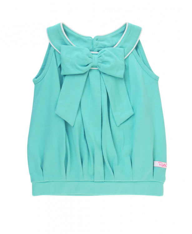 RuffleButts -  Blue Lagoon Bow Front Scoop Tank