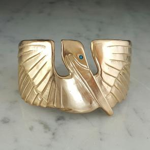 Large Pelican with Turquoise Stone Eye Cuff Bracelet - 318 Art and Garden